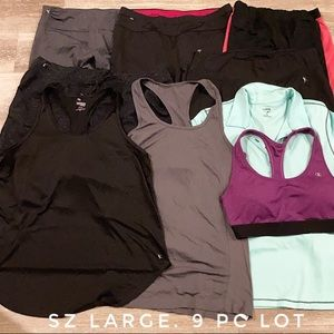 9 Pc Womens workout athletic gym clothes lot large